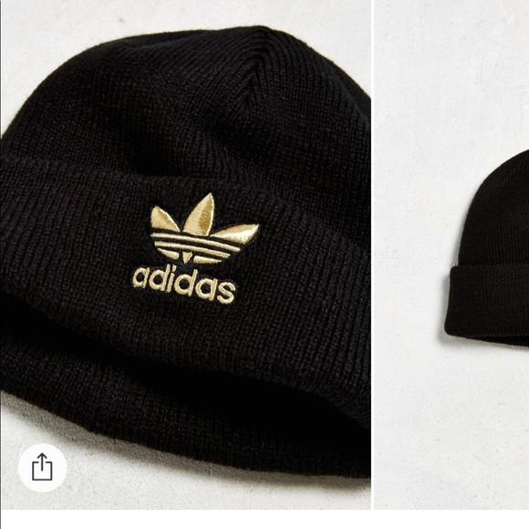 ADIDAS gold and black tre foil knit beanie 934767ead8f